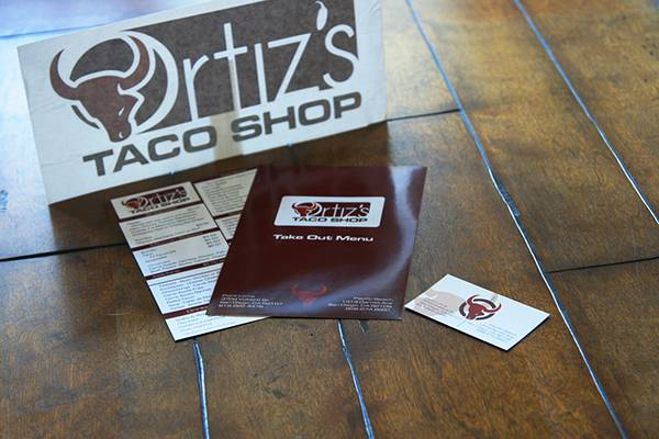 Ortiz's Taco Shop Business Cards, Take-Out Menus, and Vinyls